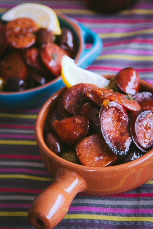 Chorizo and olives